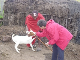 Sylvia with an African woman and her goat.